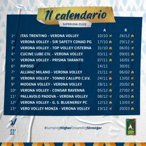 CALENDARIO Verona Volley Superlega 2021 2022