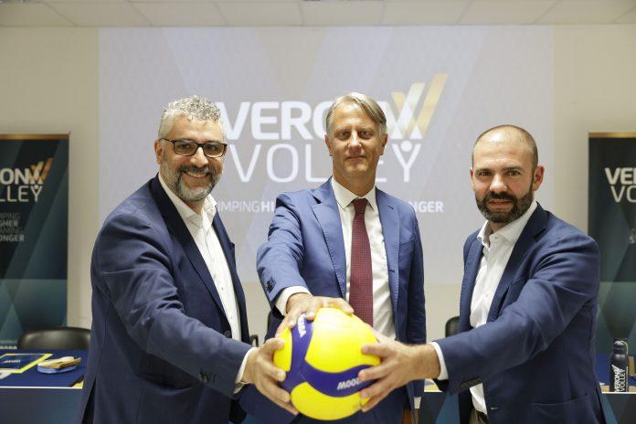 Marchesi, Fanini, Venturi alla presentazione ufficiale di Verona Volley